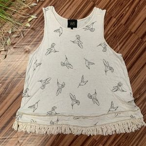W5 Anthropologie Boho Hummingbird Tassle Tank, L